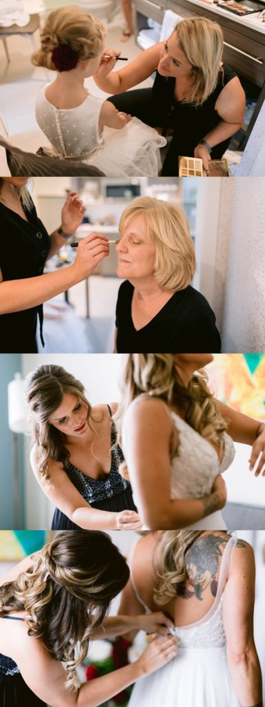mother of the bride and bride get ready for wedding
