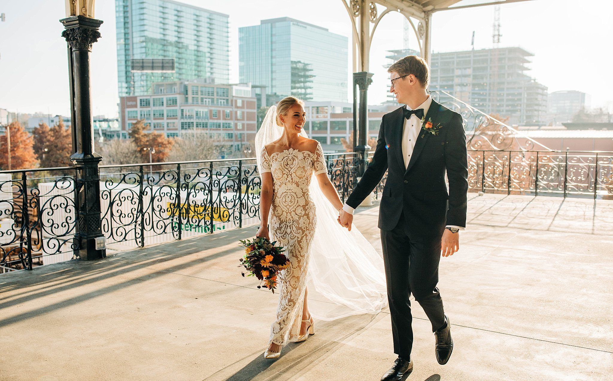 married couple portraits at nashville union station hotel wedding